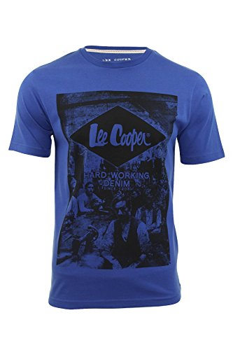 Lee Cooper -  T-shirt - Maniche corte  - Uomo Leamouth (True Blue) Large