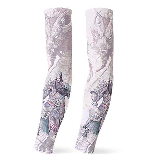 YMKFM Outdoor Tattoo Ice Sleeve - Herren Und Damen Radfahren Angeln Sonnencreme Sleeve - Fashion Arm Protector - 3 Paar (Color : E, Size : M)