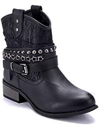 98a210e6adcaee Schuhtempel24 Damen Schuhe Westernstiefel Stiefel Stiefeletten Boots  Blockabsatz Schnalle Nieten 3 cm