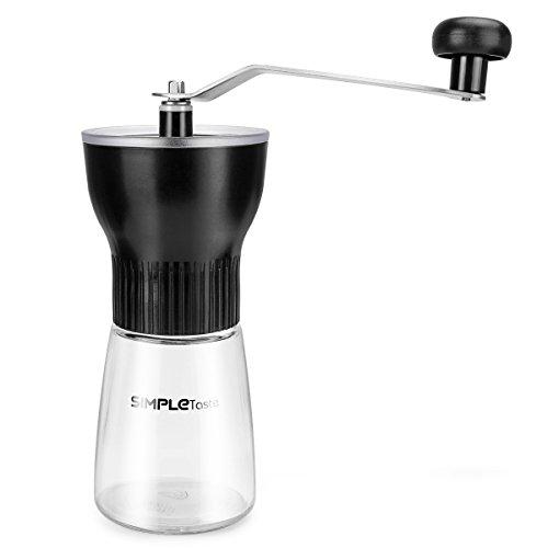 SimpleTaste Kaffeemühle Manuelle, Handkaffeemühle Mini Hand Espressomühle mit Keramikmahlwerk, Einstellbare Burr MüHle Von Grob Bis Fein