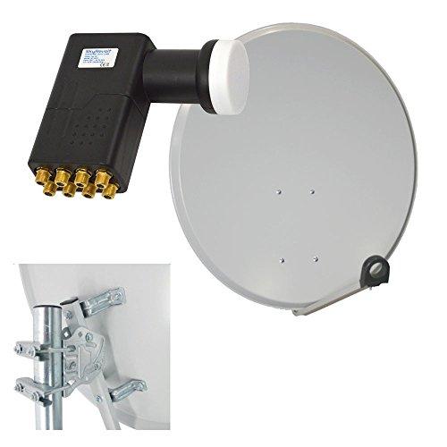PremiumX 100cm Alu Spiegel Sat Schüssel Hellgrau + Octo LNB 0,1dB HDTV NEU