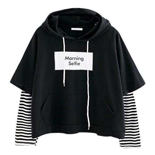 Damen Hoodie, VEMOW Frauen Brief gedruckt Sweatshirt Langarm Nähen Bluse Tops -