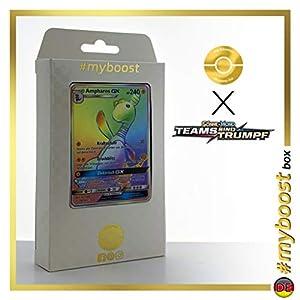 Ampharos-GX 185/181 Arcoíris Secreta - #myboost X Sonne & Mond 9 Teams Sind Trumpf - Box de 10 Cartas Pokémon Alemán