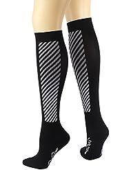 20-30mmhg Calcetines de compresión para hombres y mujeres, EveShine Calcetines de correr para Deportes, Calcetines Ultra Ligeros para Correr, Ciclismo, Triatlón-1 Par (CSK02M-raya blanco, M: EU 37-41/ UK 4-8)