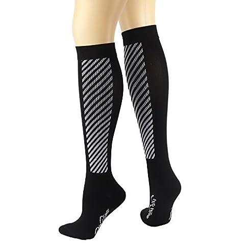 RioRiva 15-20mmHg Sports Compression Socks for Women & Men 1 Pair Stocking for Flight, Maternity, Athletics, Travel, Nurses - Medical Care Grade for Shin Splints, Calf and Leg Pain - Running Socks (CSK02M- Off white, M: UK4-7 /