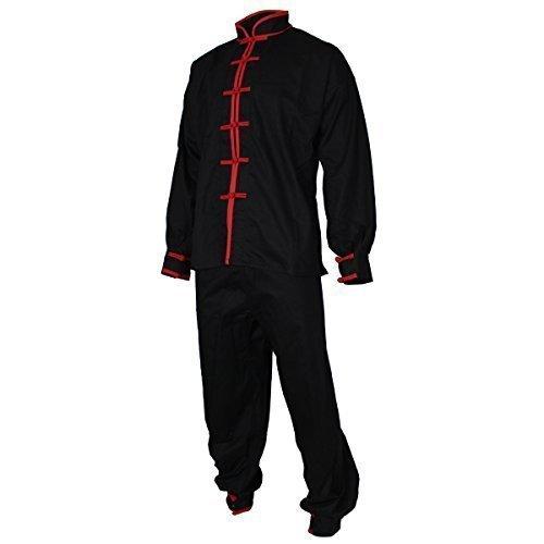 Tai Chi Anzug, 100% Baumwolle, schwarz/rot gr Größe (Kostüme Kung Erwachsene Für Fu)