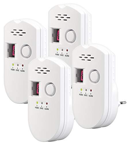 VisorTech Gasmelder Propan: 4er-Set Steckdosen-Multi-Gasmelder für Erdgas und Autogas, 85 dB (Gas Detektor) -