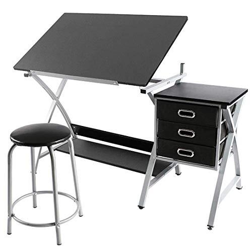 FOBUY Verstellbare Zeichentisch-Station für Kunst und Handwerk, für Hobby, zusammenklappbar, mit Hocker und 3 Schubladen, Schwarz