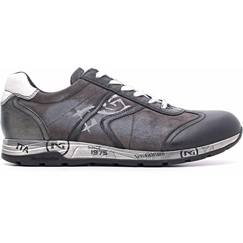 Nero Giardini Low Sneaker Hombre En Cuero Y Suede Color Negro / Gris Nepal Negro