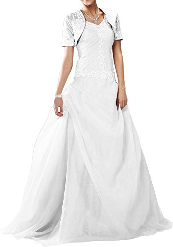 Splendiferous Bride Elegant Brautkleider Lang Satin Organza Mit Bolero Träger Abendkleider Lang Cocktailkleider Ballkleider -48-Weiß