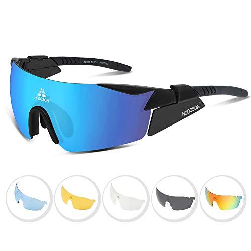 HODGSON Fahrradbrille Polarisiert Sportbrille Sonnenbrille für Herren und Damen mit 5 Wechselgläsern aus TR90 UV400-Schutz, Radbrille, Ski Sonnenbrille für Autofahren Laufen Radfahren Angeln Golf