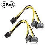 Grafikkartenkabel, VILICONTY 2 Stück 6 Pin auf 2x 8(6 + 2) Pin PCIe Express Power Verlängerungskabel (2 Stück, 8P bis 2x 15P, SATA)