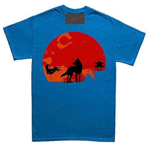 Renowned Japanese Wolf Sunset Herren T Shirt Blau