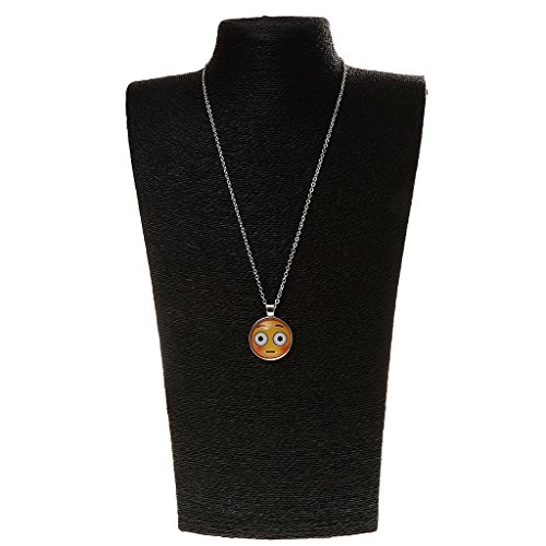 Phenovo Women Silver Plated Jewelry Emoji Glass Cabochon Pendant Chain Necklace No.3  available at amazon for Rs.170