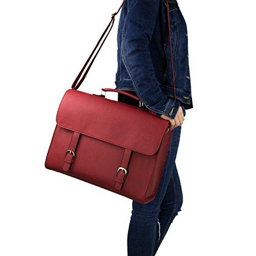 Estarer Aktentasche Damen Umhängetasche Laptop 15 Zoll Arbeitstasche in PU Leder Braun Braun