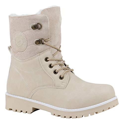 Warm Gefütterte Damen Stiefeletten Worker Boots Kunstfell Schuhe Creme Weiss 40 Flandell