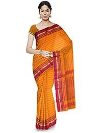 Mahima Emporium Maheshwari Handloom Cotton and Silk Saree (Orange)