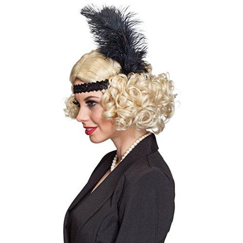Girl Flapper Kids Kostüm Für - Amakando 20er Jahre Lockenperücke 30er Jahre Haare mit Haarband und Feder Flapper Girl Damenperücke Blonde Charleston Perücke Karneval Kostüme Damen Sexy Locken Faschingsperücke Mafia Kurzhaarperücke