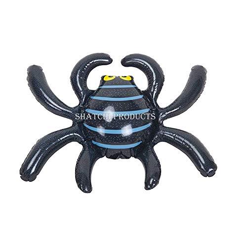 Shatchi HYPER-INFLATBLESPIDER-4 Stück aufblasbare Spinne Halloween gruselig Gruselig Haus Garten Dekoration Fasching Party Zubehör Schwarz