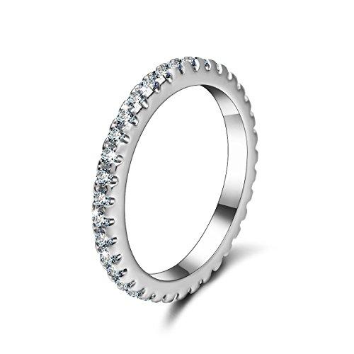 donne matrimonio brillante promessa anello fidanzamento Eternity anello zircone placcato argento, placcato argento, 13,5, cod. BRA102BJ7