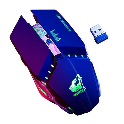 Preisvergleich Produktbild obiqngwi für elektronische Wettkampfsportarten,  Kostenlose Wolf X11 Ergonomische 2, 4 G 2400 DPI Wireless Optical Mouse für Laptop-Computer - Schwarz