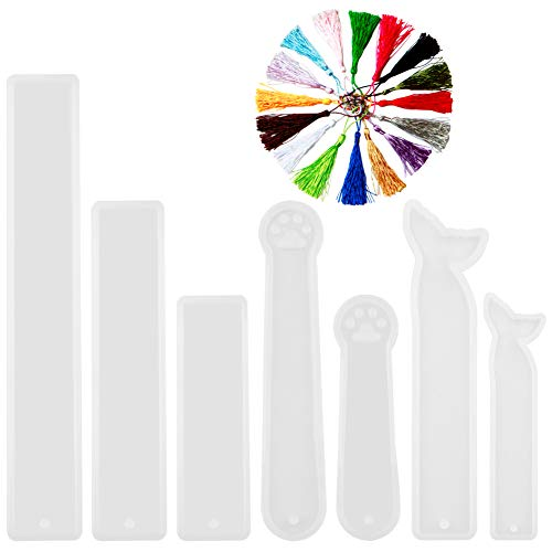 CCMART 7 Stück Silikon Lesezeichen Form DIY Transparent Epoxidharz Casting Schmuck Formen gehören Rechteck, Cat Claw, Meerjungfrau Schwanz Geformt für Handwerk Machen mit 14pcs Handgemachte Quasten