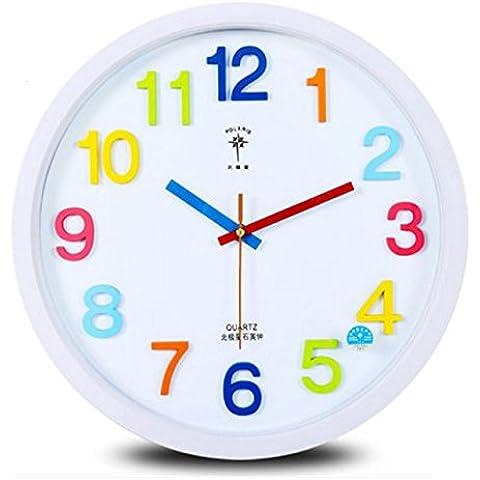 SqYa 14 pulgadas Caricatura creativa Reloj de pared Cuarzo silenciosa Room-Bedroomliving INFANTILES Sala Blanca de 14