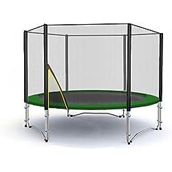 Deluxe Trampolín profesional de jardín - trampolín - trampolín xxl - trampolines para niños - varios tamaños y colores (Verde, 185cm con Escalera)