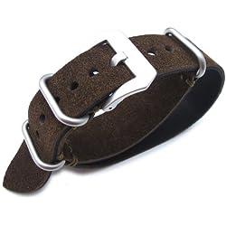 ?MiLTAT 22mm Nubuck Leather Grezzo Zulu watch strap D. Brown Thick armband - Green Hand Stitch?