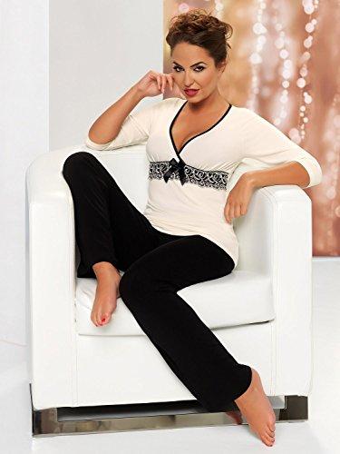Donna sensationeller Viscose Combinaison de Pyjama en viscose pyjama Maison avec broderie spektakulärer sous la poitrine dans June jolie Boîte Cadeauboîte cadeau Blanc - Ecru/Schwarz