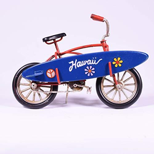 UniqueGift Retro Metall Red Bike Hawaii mit Mini Surfbrett - Fahrrad Deko Sammlerstück Miniatur - Vintage Style Figur - Surfer Geschenk