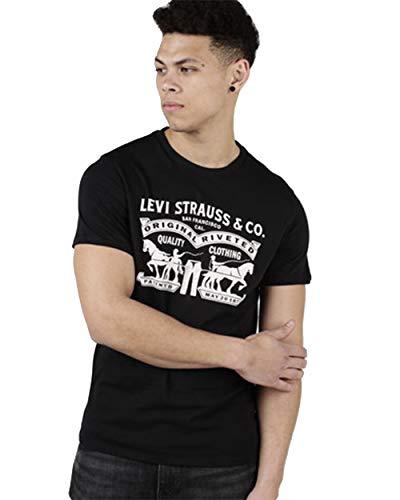 Levi's 2 horse grafico uomo maglietta a manica corta con girocollo (m, nero)