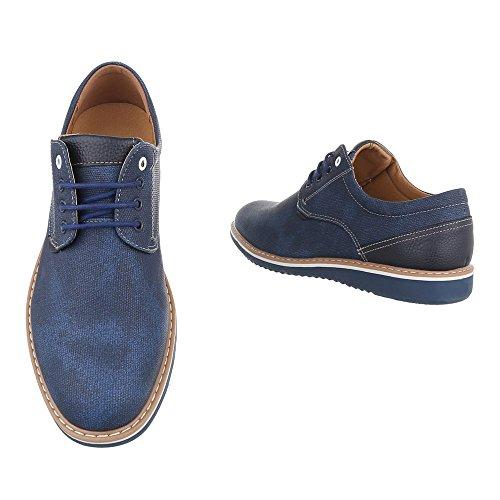 Ital-Design Schnürschuhe Herrenschuhe Oxford Schnürer Schnürsenkel Halbschuhe Blau