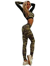 Sudaderas Cortas Mujer Amlaiworld Chándal mujer Conjuntos de sudaderas de camuflaje Ropa deportiva Blusa Pantalones