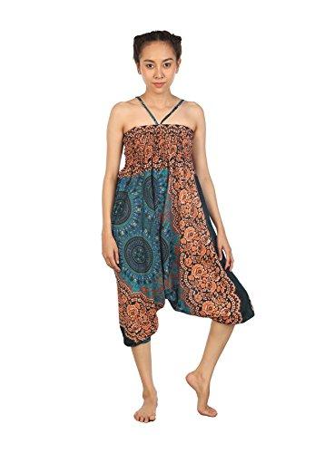 Lofbaz Damen Hippie Boho Hose 2 in 1 Haremshose & Jumpsuit Aladinhose Pumphose Rose 2 Teal Grün