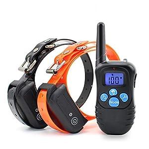 Feisui Collier De Dressage pour Chien avec Mode Bip/Vibration/Lumière LED Télécommande Contrôle Portée 300 Mètres
