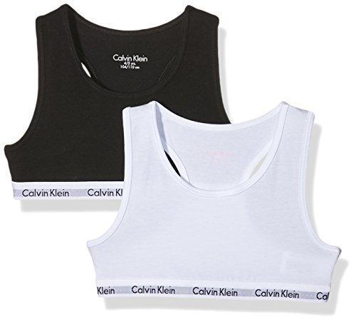 Calvin Klein Girls 2 Pack Modern Cotton Bralette. Soft Cotton stretch fabric with iconic Calvin Klein branding on underband 95% Cotton 5% Elastane