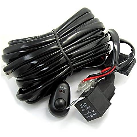 WINGONEER 2 Lead Kit universal de luz LED Bar Mazo de cables con fusibles y relés encendido / apagado para LED conducción fuera de carretera luz de niebla de trabajo