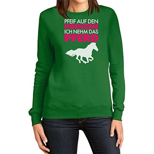 Damen Pfeif auf den Prinz ich nehm das Pferd Spruch weiß Frauen Sweatshirt Medium (Kostüme Für Ideen Billig Paare)