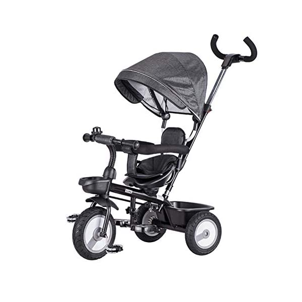 GSDZSY - 4 IN 1 Children Tricycle 360° Swivel Seat The Push Rod Can Control The Direction With Detachable Putter And Awning Rubber Wheel 2-5 Years Old,Grey_A GSDZSY ❀ Material: High carbon steel + ABS + Rubber wheel, suitable for children from 2- 5 years old, maximum load 30 kg ❀ Features: The push rod can be adjusted heights; the seat can be rotated 360 to facilitate communication between mother and baby; adjustable parasol for different weather conditions ❀ Performance: high carbon steel frame, stronger and stronger bearing capacity; Rubber wheel is non-slip wearable suitable for all kinds of road conditions, seat is made of breathable fabric, baby ride is more comfortable 1