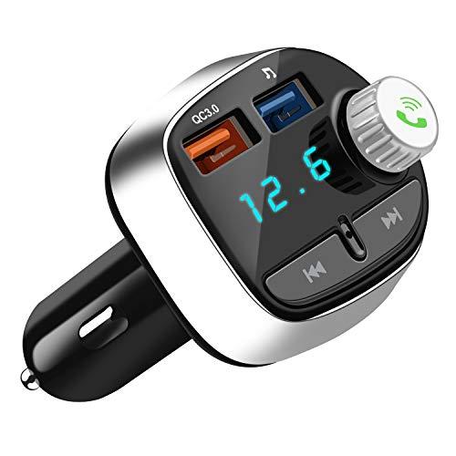 Bluetooth FM Transmitter, Nutmix Wireless Auto Radio Freisprecheinrichtung mit TF-Anschluss Doppel-USB Ladegerät MP3 Music Player, für iOS und Android Bluetooth-Geräte (Usb-doppel-ladegerät)