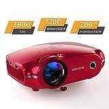 """Projektor, portabler Crenova Mini Beamer 720P Nativ, 3800 Lumen Beamer mit 200"""" Bildgröße und für PC/MAC/DVD/TV/Xbox/Filme/Spiele/Smartphone mit kostenlosem HDMI-Kabel, Rot"""