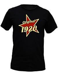 T-Shirt als lustiges Geschenk zum Geburtstag - Original 1920 mit Stern - Geburtstagsgeschenk mit Jahrgang - Schwarz