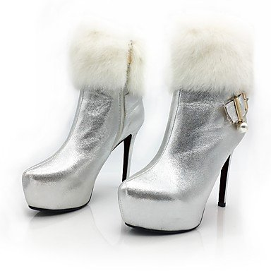 Coeur & M Femmes Chaussures Brevet Automne Hiver Bottes Bottines Doublure De Cheville Bottines Platinum Stiletto Appuntite Rouge