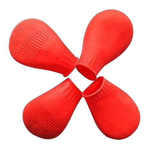 HEISHOP Haustier Gummi Hund Schuhe Sommer atmungsaktive Socken Teddy Anti-Rutsch-Hund Regen Schuhe Indoor Schuhe, rot, M - Regen-socken Hund