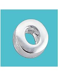 Letra O en plata maciza auténtica plata de ley 925Pure Charm perla en plata de ley letra inicial alfabeto para pulsera Europea y cadenas–3d diapositivas, sobre/off–Filoro