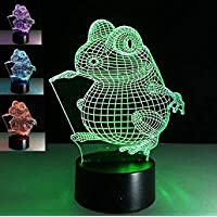 Novelty 3D Frog Night Light Illusion Lamp 7 Color Change LED Touch USB Table Gift Kids Toys Decor Decorations Christmas Valentines Gift