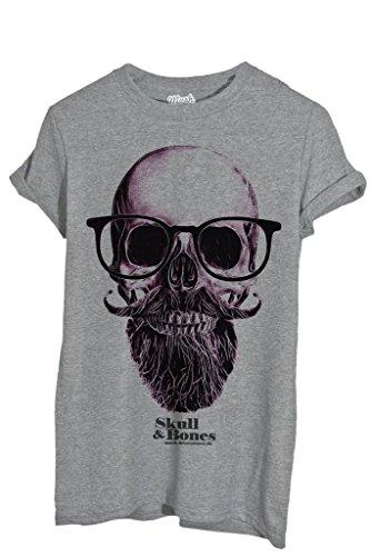 T-Shirt TESCHIO NERD HIPSTER - MUSH by MUSH Dress Your Style - Uomo-M-GRIGIO SPORT