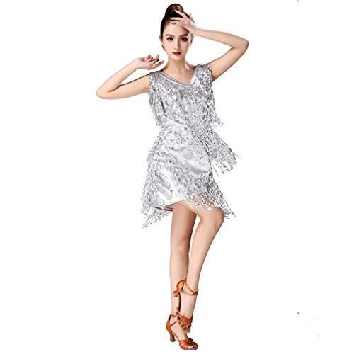 Magogo Latin Dance Dresses Pailletten Quasten Abschlussball-Kostüm Großer Gatsby Motto Partyrock (XXL, Silber)