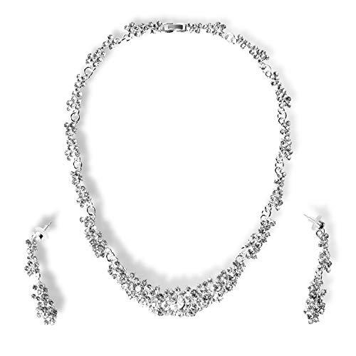 StillCool Collar Pendientes Fiesta Aretes Mujer Diamantes
